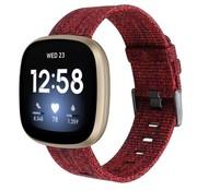Strap-it® Fitbit Versa 3 geweven nylon gesp band (rood)