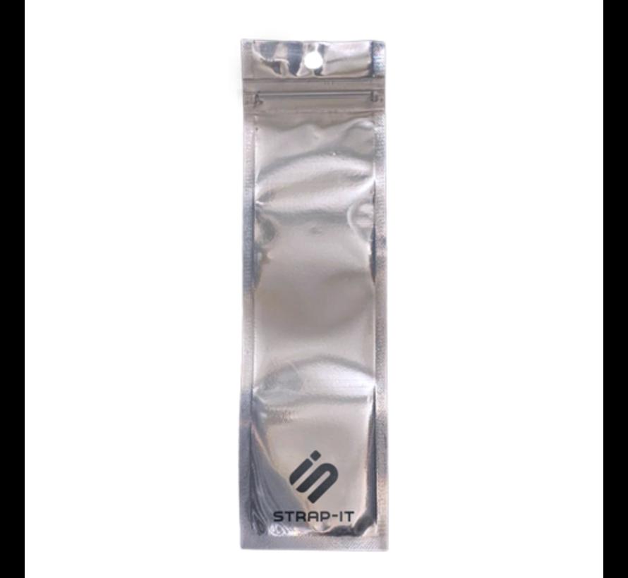 Strap-it® Fitbit Sense geweven nylon gesp band (zwart-wit-grijs)
