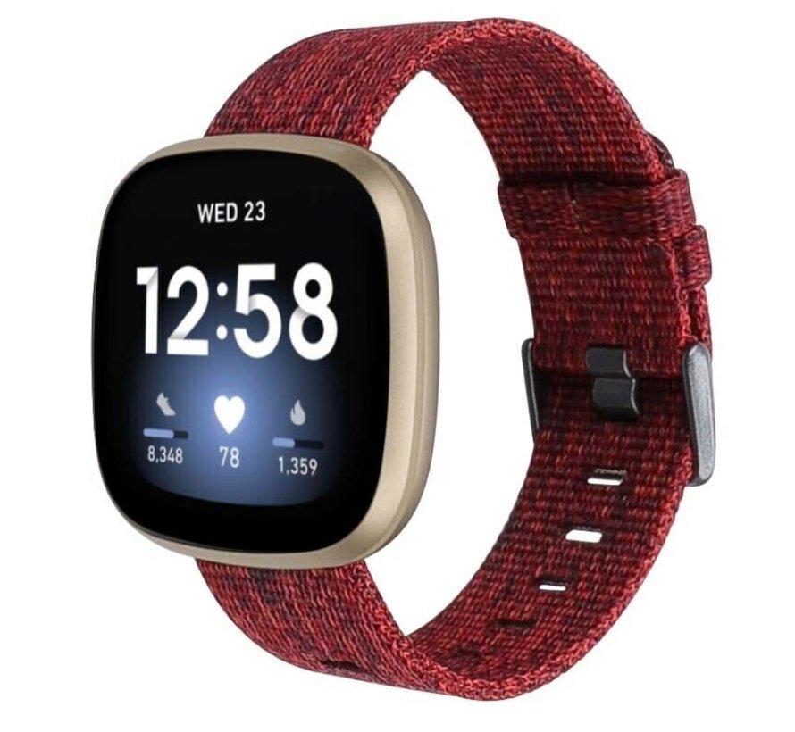 Strap-it® Fitbit Sense geweven nylon gesp band (rood)
