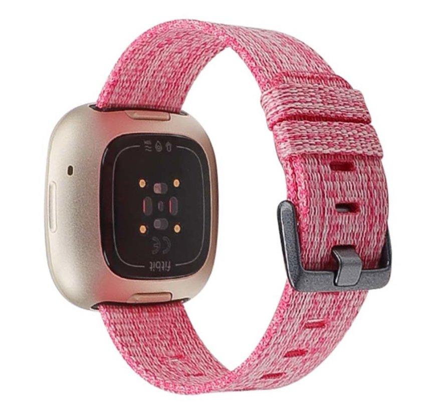 Strap-it® Fitbit Sense geweven nylon gesp band (roze)