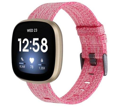 Strap-it® Strap-it® Fitbit Sense geweven nylon gesp band (roze)