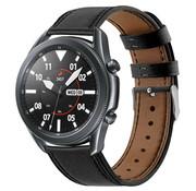 Strap-it® Samsung Galaxy Watch 3 - 45mm bandje leer (strak-zwart)