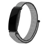 Strap-it® Fitbit Inspire nylon bandje (grijs-zwart)