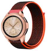 Strap-it® Samsung Galaxy Watch 41mm / 42mm nylon band (zwart/oranje)
