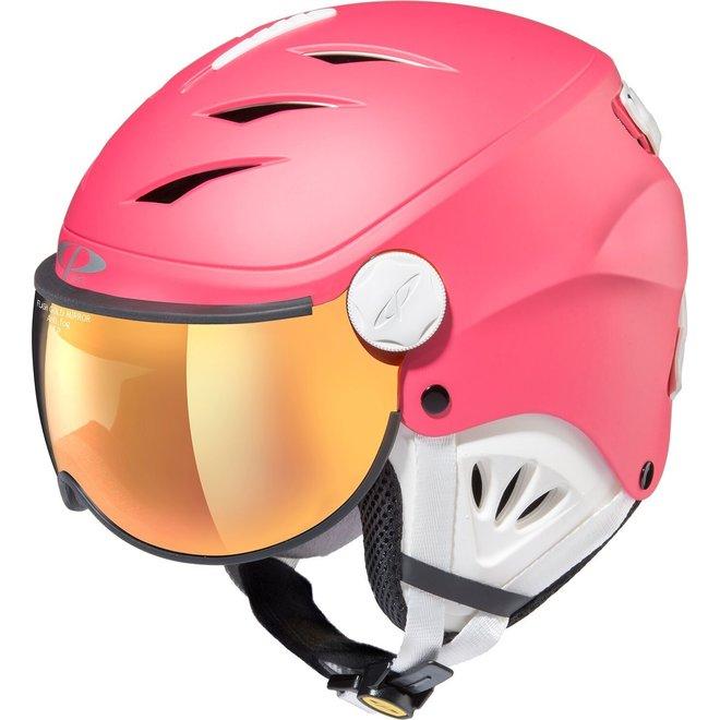 CP Helmets Camulino Lipstick Roze met Oranje Zilveren Spiegel Vizier