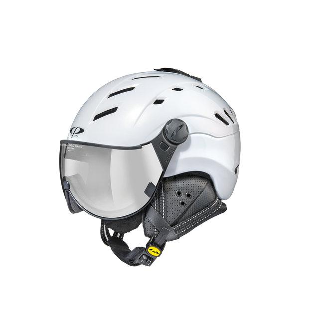 CP Helmets Camurai Parelwit Glanzend met Glanzend Witte Vario Spiegel Vizier