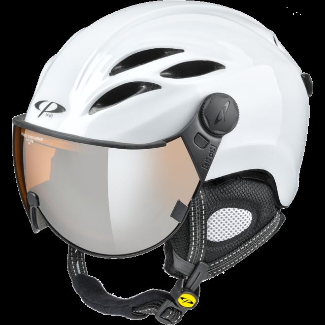 CP Helmets Curako Wit Glans met Oranje Zilveren Spiegel Vizier