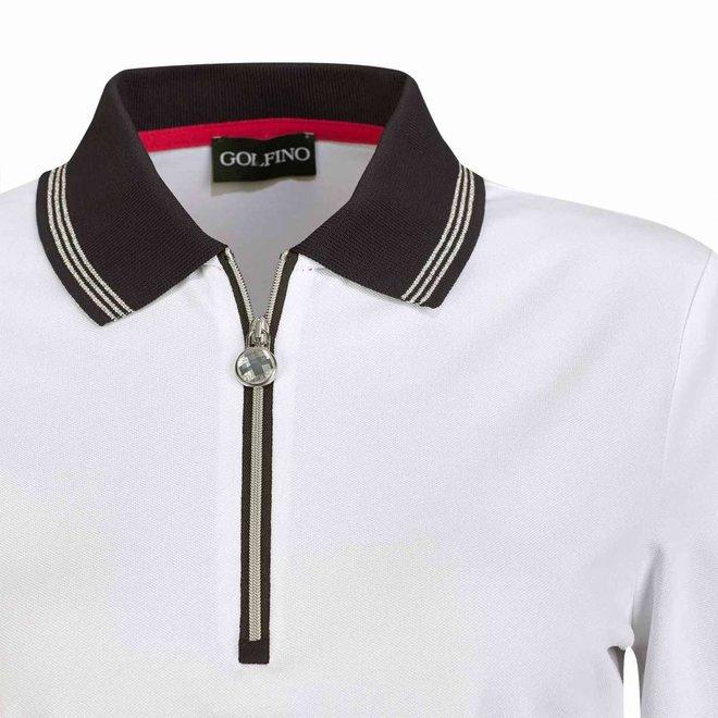 Golfino Dames Revolution Polo Wit/Donkerblauw