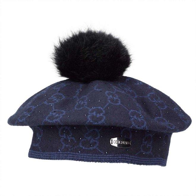 Golfino Dames Pompom Muts Zwart/Blauw Print