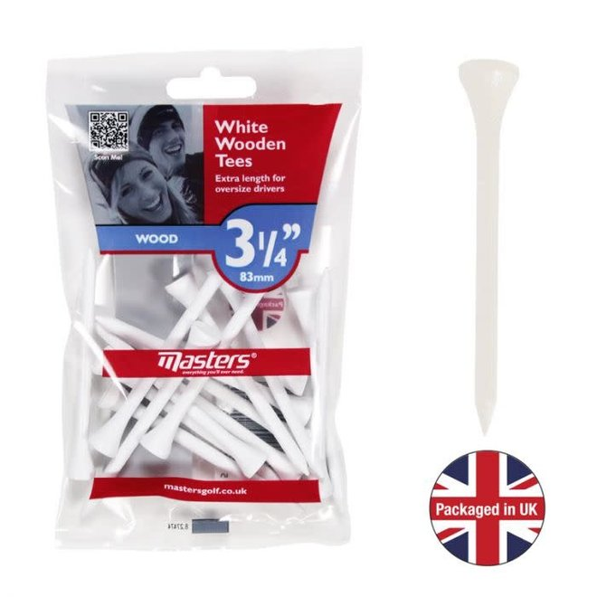 Masters White Wooden Tees 15st 83MM