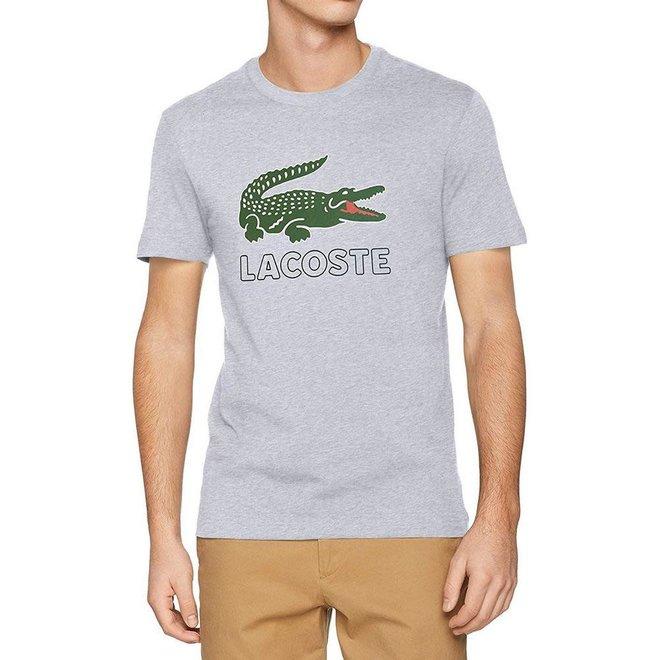 Lacoste T-shirt Croco Print Regular Fit Grijs