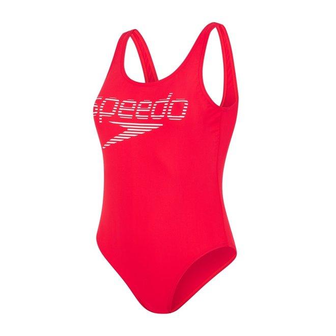 Speedo Dames Badpak Stripe Logo Deep U-back 1Piece
