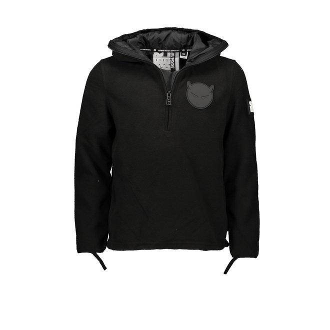 Super Rebel Boy + Girl Ski Fleece Hoody Jacket Black