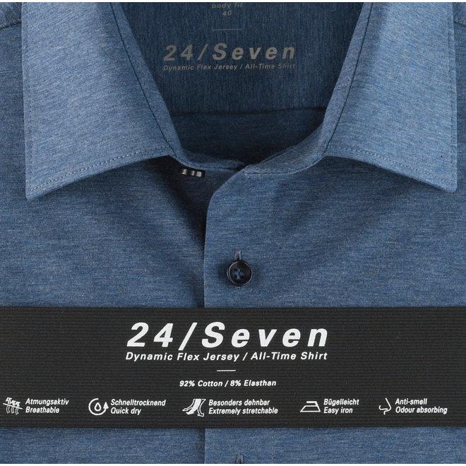Olymp Heren Overhemd 24/Seven Level 5 Body Fit Blauw