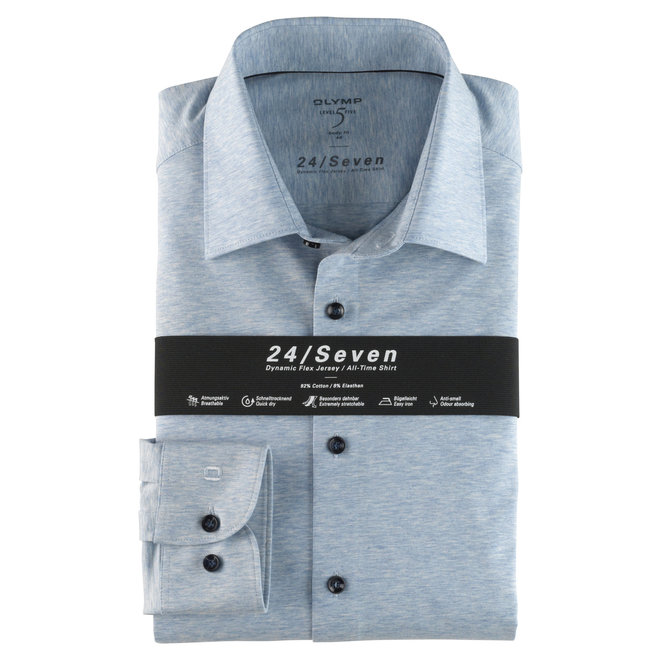 Olymp Heren Overhemd 24/Seven Level 5 Body Fit Lichtblauw