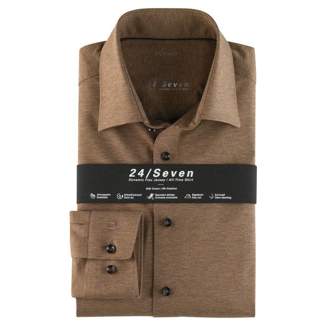 Heren Overhemd 24/Seven Luxor Modern Fit Bruin