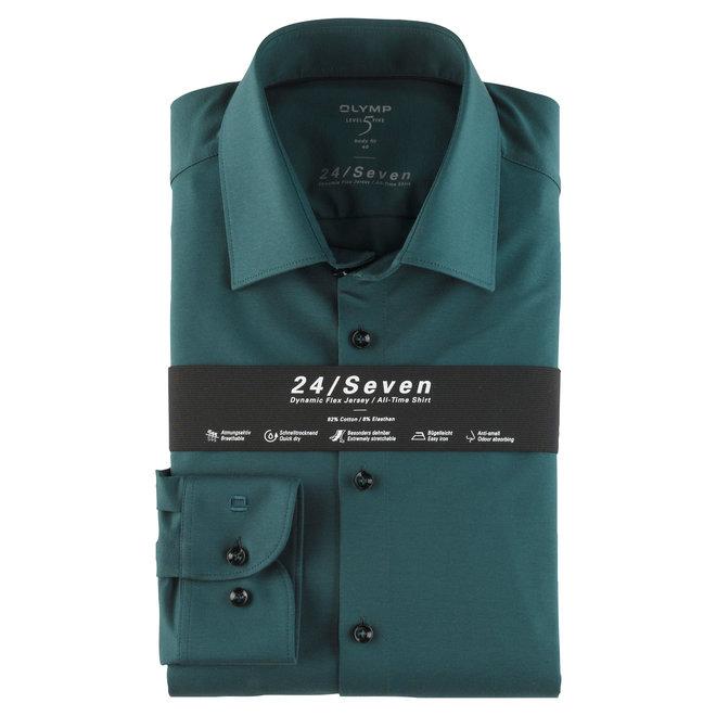 Heren Overhemd 24/Seven Level 5 Body Fit Groen