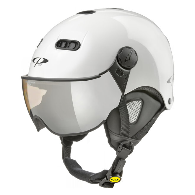 CP Carachillo clear silver mirror Skihelm Wit Hoogglans