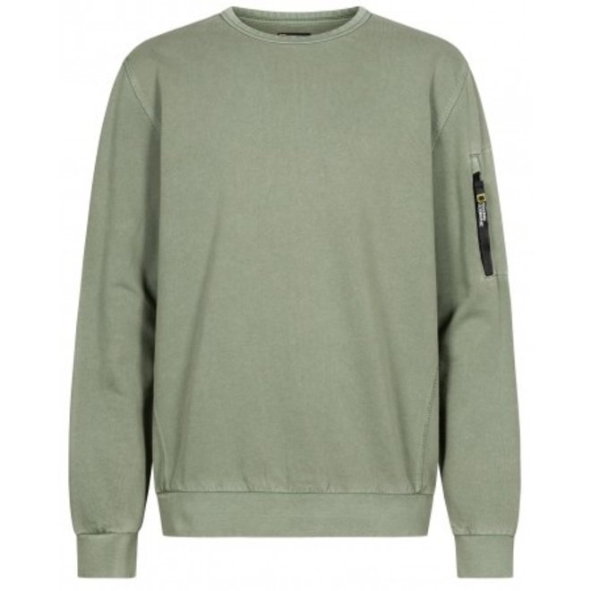 National Geographic Garment Dyed Crewneck Agave Green