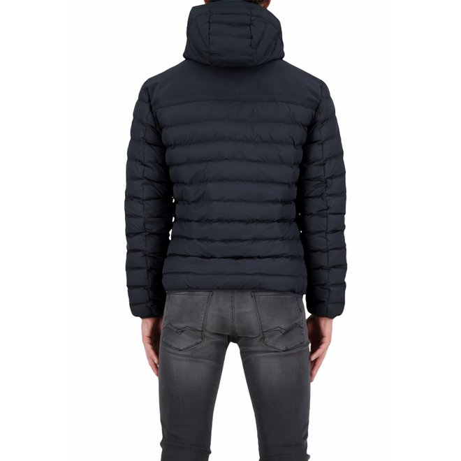 Heren Hooded Padded Jacket Dark Navy Blue