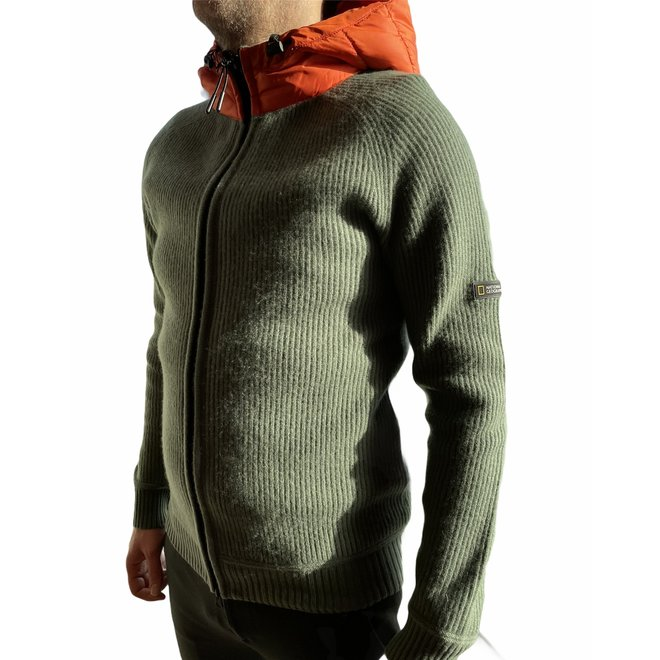 National Geographic Merino Blend Hoodie Men Green/Orange