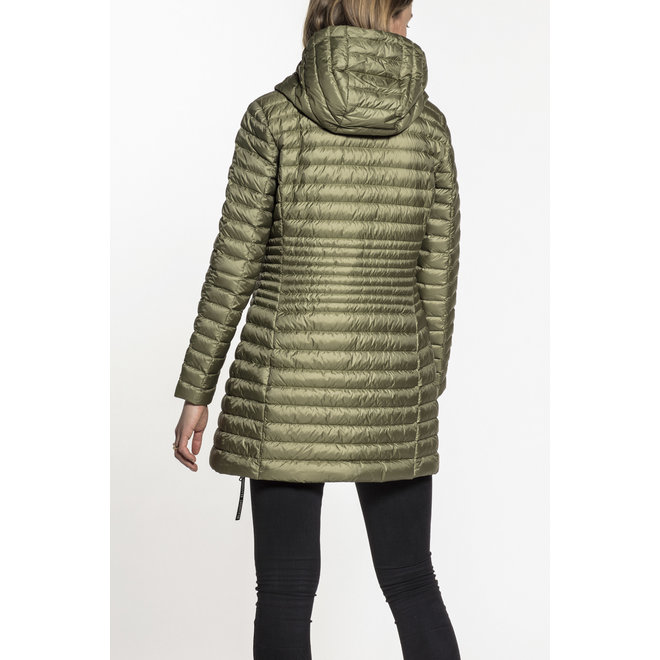 Beaumont Hooded Long Dames Down Jacket Green