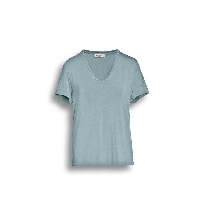 Beaumont Viscose Jersey Dames T-shirt V-neck Sky