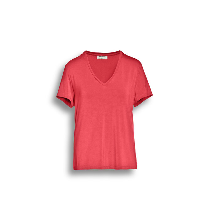 Beaumont Viscose Jersey Dames T-shirt V-neck Coral