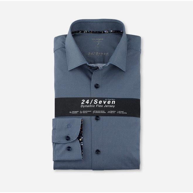 Heren Overhemd 24/Seven Level 5 Body Fit Blauw Ruitje