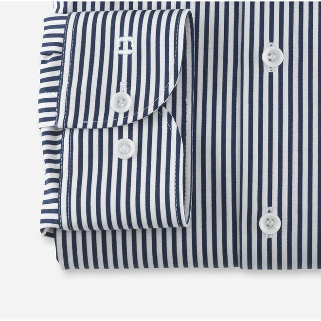 Heren Overhemd 24/Seven Level 5 Body Fit Navy Streep