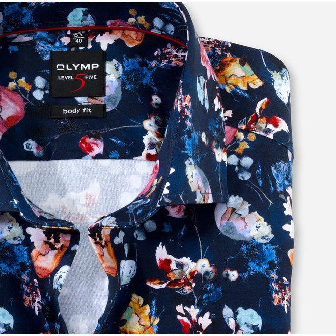 Olymp Level Five Body Fit Overhemd Flower Donkerblauwprint