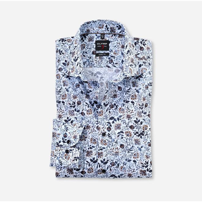 Olymp Level Five Body Fit Overhemd Flower Lichtblauw