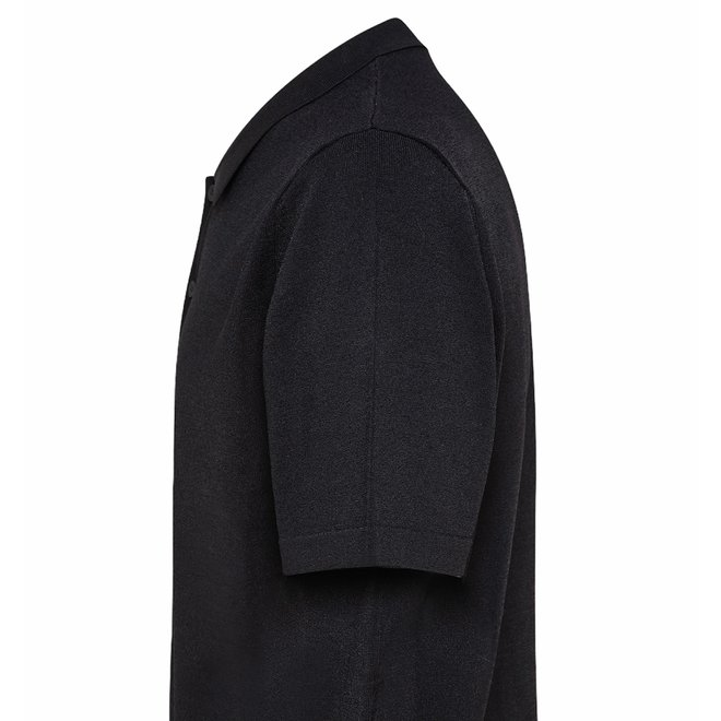 Omar Stretch Heren Polo Zwart