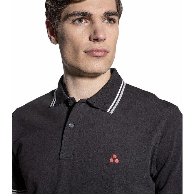 Medinilla Stripe Heren Polo Zwart