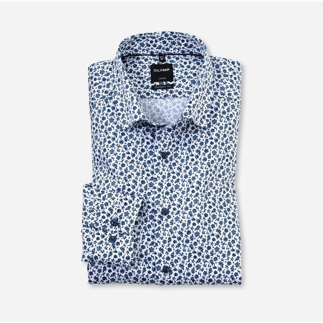 OLYMP Luxor Modern Fit, Zakelijke Overhemd, Button-Under, Bleu
