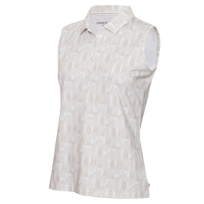 Dames Sleeveless Polo Print/White/Fossil