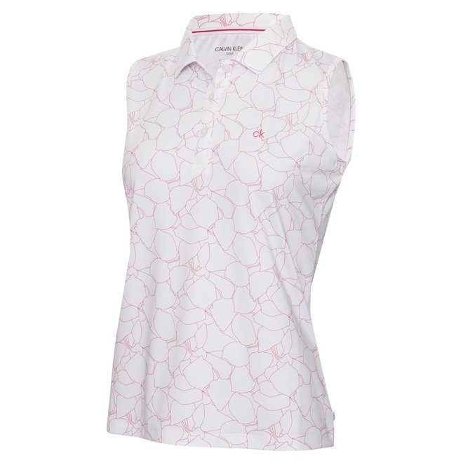 Dames Sleeveless Polo Print/White/Jete
