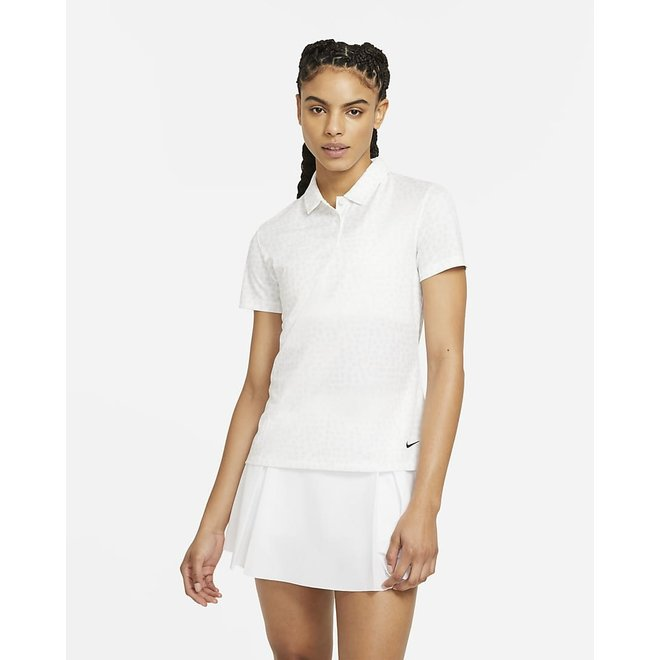 Woman Dri Fit Grid Print Polo White