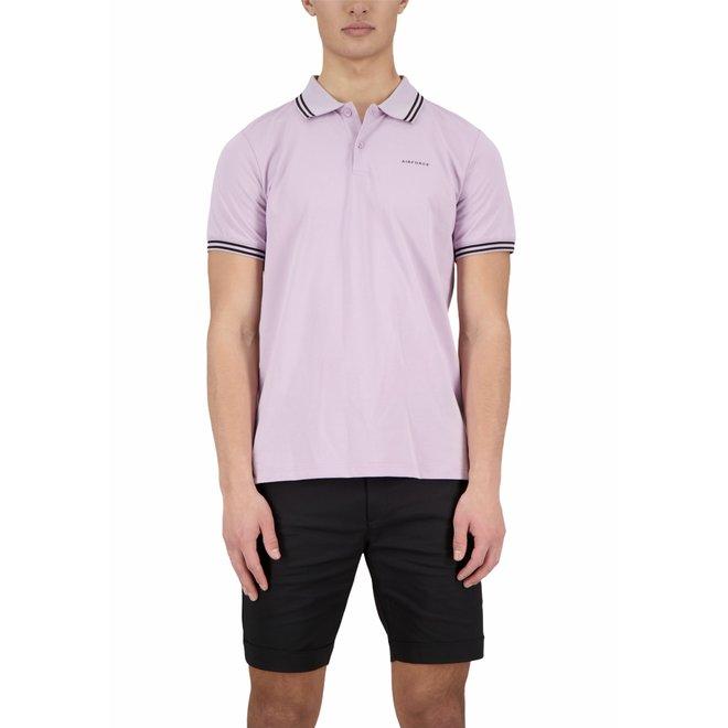 Heren Polo Double Stripe Lavender
