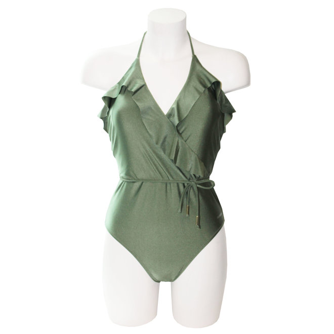 Ladies Froezel Bathingsuit Shiny Green