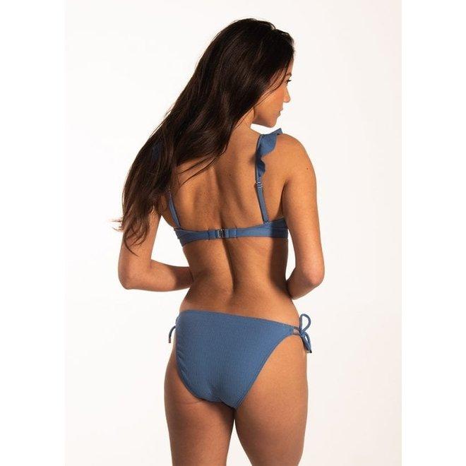 Bikini Ruffle Top Knitted Blue