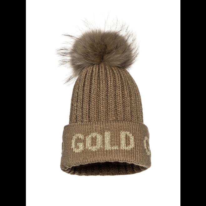 Goldbergh Hodd Beanie Fur Gold