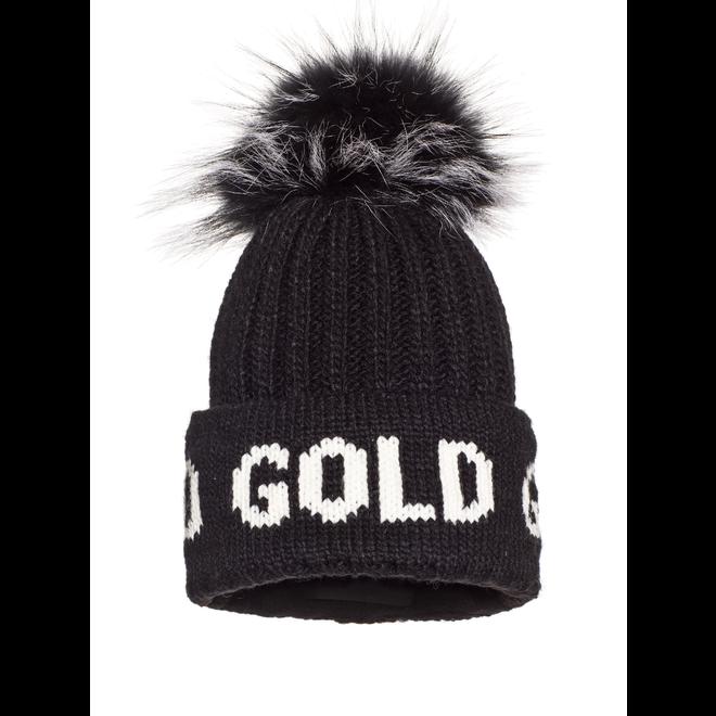 Goldbergh Hodd Beanie Fur Black