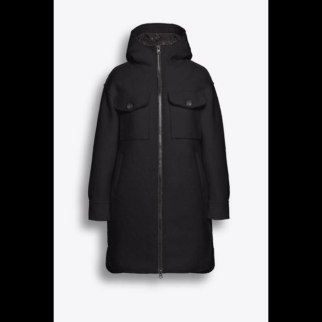 Beaumont Boucle Long Hooded Jacket Black