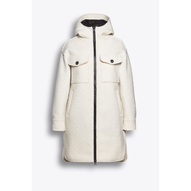 Beaumont Boucle Long Hooded Jacket Off White