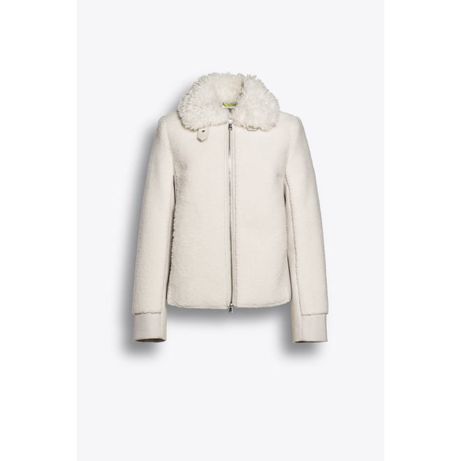 Beaumont Fur Wool Mix Jacket Off White