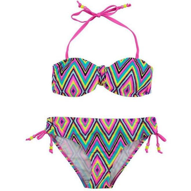 Boobs & Bloomers Meisjes Bandeau Bikini Elle Zigzag