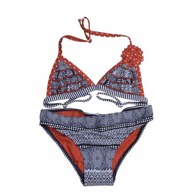 Manouxx Meisjes Bikini Triangle Fancy Navy