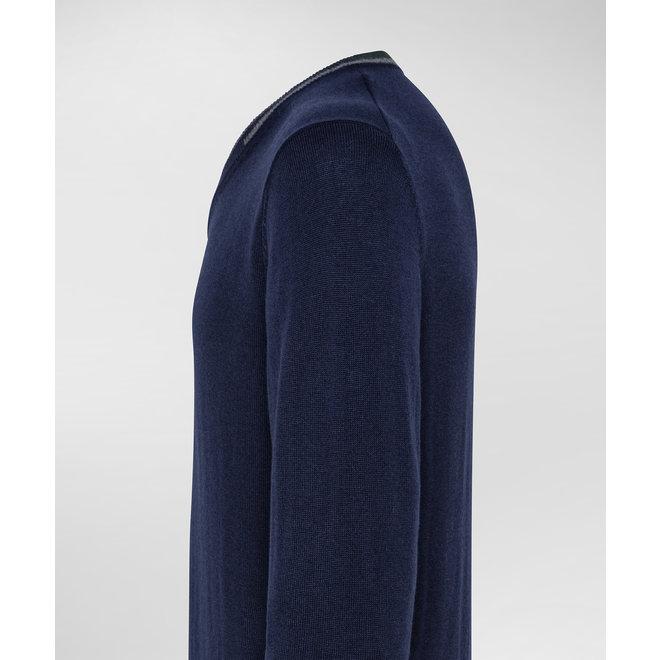 Peuterey Heren Dencom Vhals Trui Blue Graphite/Grijs