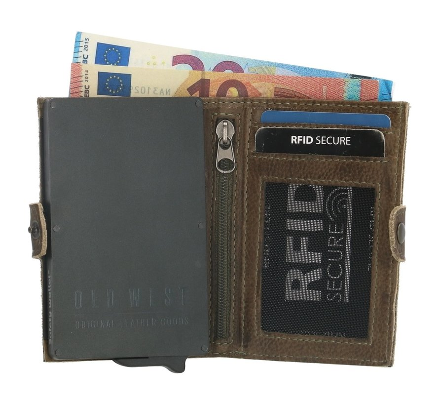 Old West Round Rock safety wallet olijf